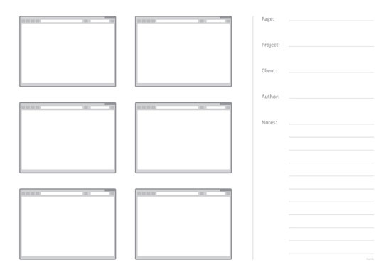 Web Sketching Template – 6 pages